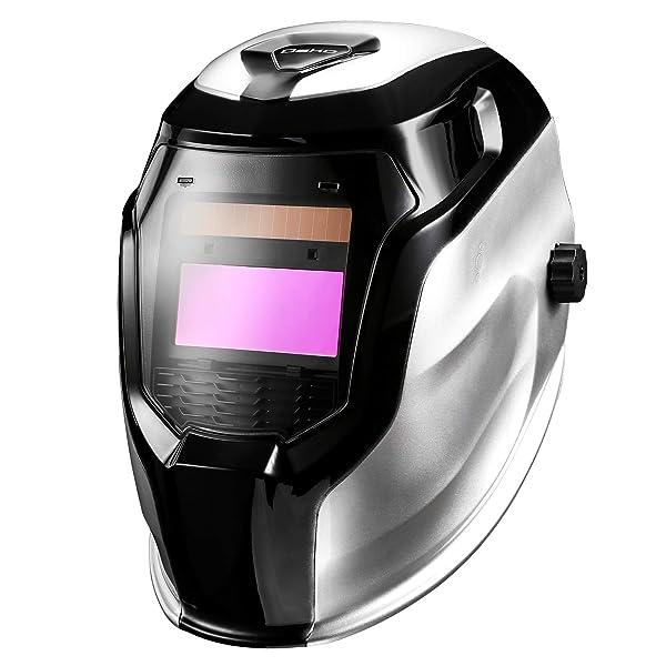 DEKOPRO Welding Helmet Solar Powered Auto Darkening Hood with Adjustable Shade Range 4/9-13 for Mig Tig Arc Welder Mask (Silver) (Tamaño: Silver)