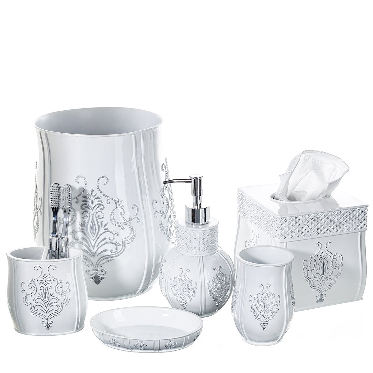 Vintage White Bathroom Accessories, 4 Piece Bathroom Accessories Set, Bathroom Set Features French Fleur-De-Lis Motifs, Soap Dispenser, Toothbrush Holder, Tumbler & Soap Dish - Bath Gift Set