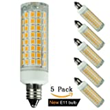 [5-pack] e11 led bulb 100w equivalent dimmable, mini candelabra led 100w equivalent,1000lm, 110V 120V 130V input, 60W 75W 100W halogen bulbs replacement, warm white 3000K (Color: 7.6w E11 Warm White 3000k (Dimmable))