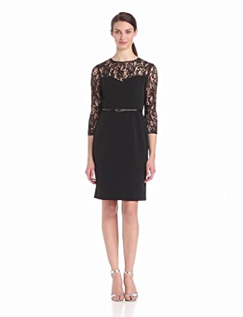 Adrianna Papell Women's Lace Corset Seam Dress, Black, 8