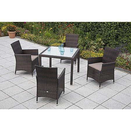 MERXX Gartenmöbel-Set Pesaro 9-tgl. Sessel inkl. Sitzkissen und Tisch 90x90 cm