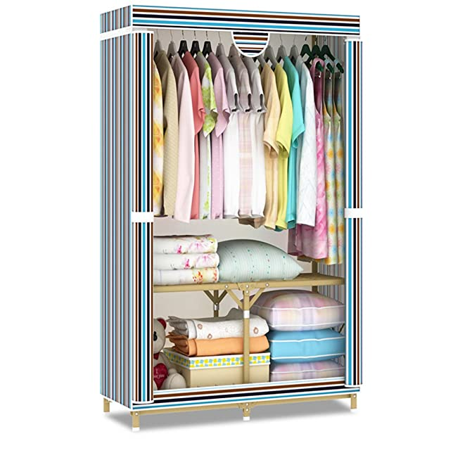 LI JING SHOP - Panno Struttura in metallo pieghevole Sezione cerniera Assemblaggio Armadio guardaroba da casa Stoccaggio polo W85 × D45 × H160cm ( Colore : Striped section )