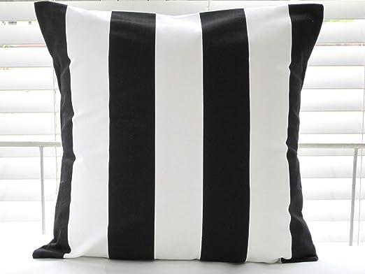 Ikea Vargyllen Striped Cushion Cover 100% Cotton Canvas Wide Stripe Black and White Cushion