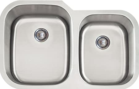 Lenova PC-SS-CL-D2L-16 PermaClean 16-Gauge Stainless Steel Classic Unequal Double Bowl Undermount Kitchen Sink