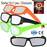 Solar Eclipse Glasses 2017 (4 Pack) - Direct Sun Viewing 100% Safe Eyewear CE and ISO Certified - Protection Shades Designed in USA by CreativeXP (Colored) (Color: Colored, Tamaño: One size)