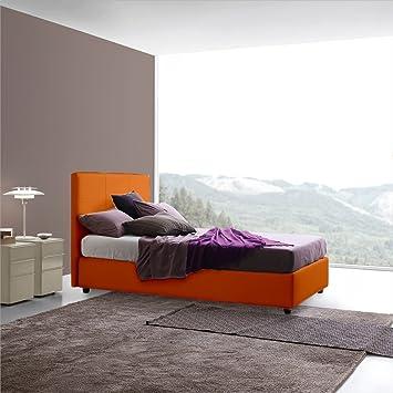 Gemma Sararreda - Queen Size Bett mit Aufbewahrung in Kunstleder Gepolstert - Orange Farbe - Made in Italy