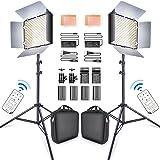SAMTIAN LED Video Light 600 LED Camera/Studio Light Kit CRI95 3200K/5600K Camcorder Light Kit with Barndoors 75 inches Light Stand Batteries and Remote Camera Photo Light for Studio Photography, Video (Color: TL-600S 2Kit)
