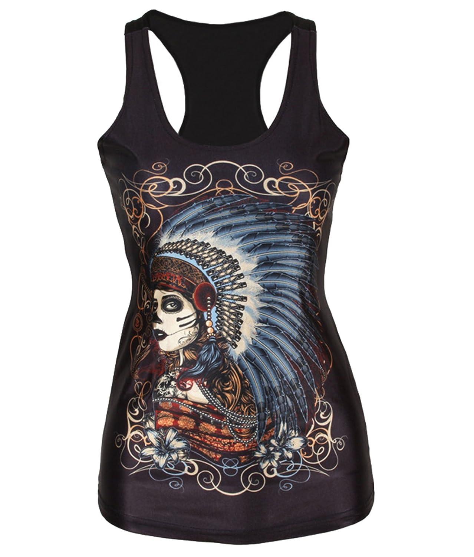 SOTW 2015 Hot Women Skeleton Printed Sleeveless T Shirt Vest Tank Tops