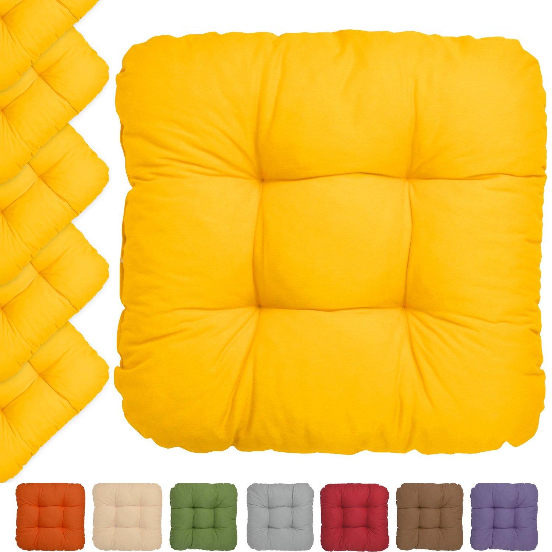 20er Set - Bequemes Stuhlkissen Lisa - 40x40x8 cm - Gelb - Besonders stark gepolstertes, weiches Sitzkissen