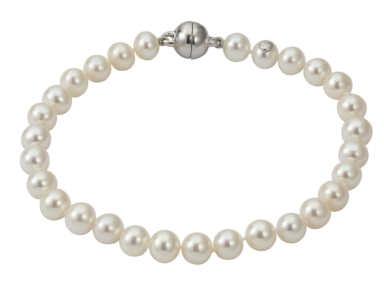 Adriana Damen-Armband Süßwasser Zuchtperlen mit Magnetverschluss 925 Sterling Silber SWZP weiß Premium PR5-2 kaufen