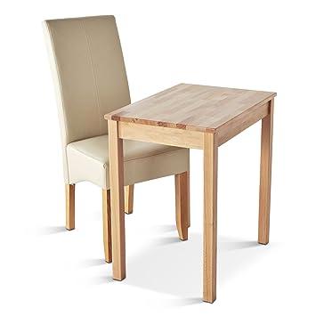SAM® Tischgruppe Erik 2tlg 50 x 70 cm Buche Kernbuche lackiert Esszimmergruppe ein Stuhl Jose creme Pinien Holz Beine 2 teilig