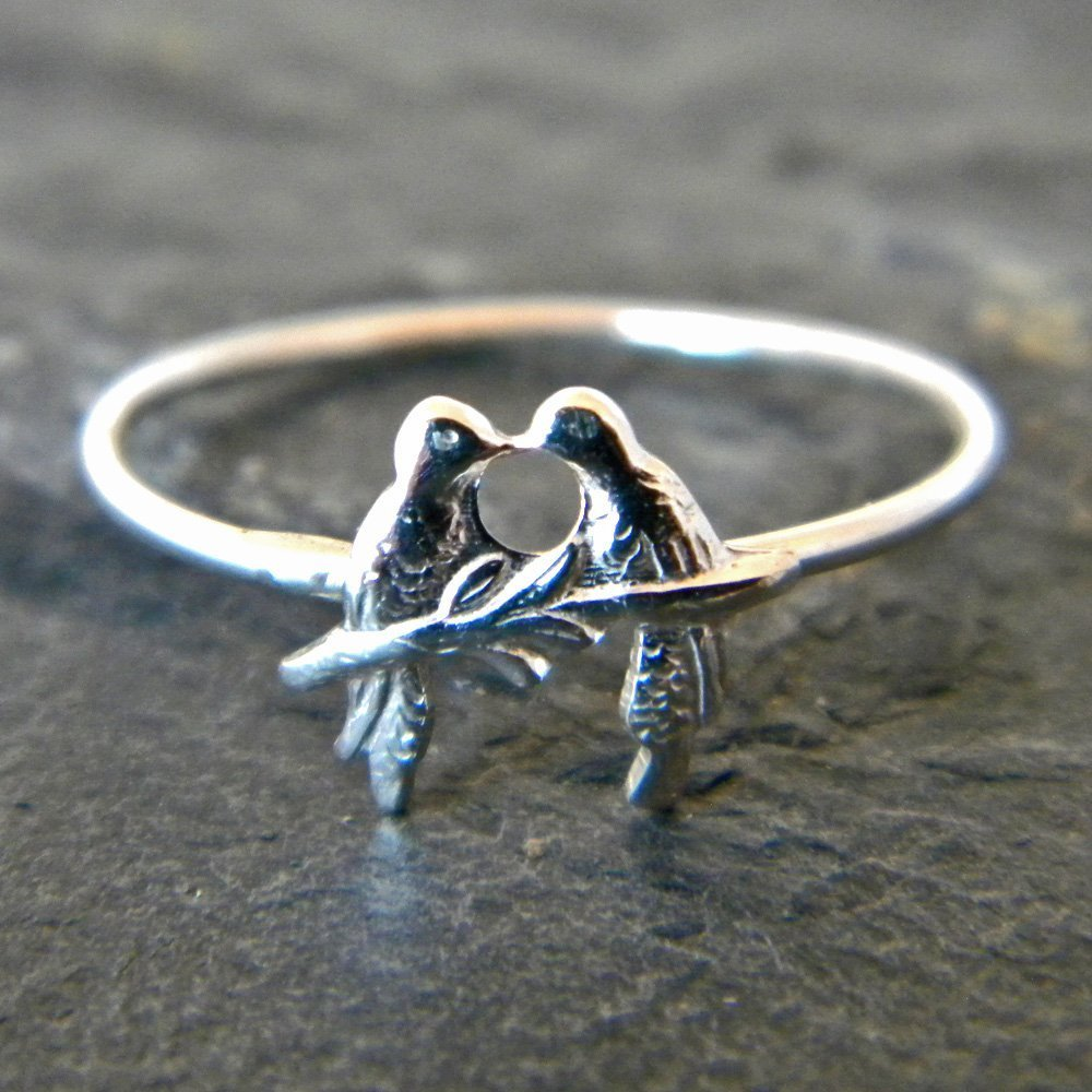 Sterling Silver Love bird Ring, Silver Stacking Ring, Bird Ring, Thumb or Knuckle, Handmade