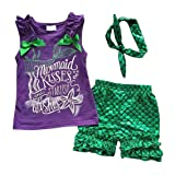 Kids Girls Summer Ruffle Shirts Sequin Mermaid Short Pant Outfits with Headband, 4-5 Years (Color: Mermaid, Tamaño: 4-5 Years)