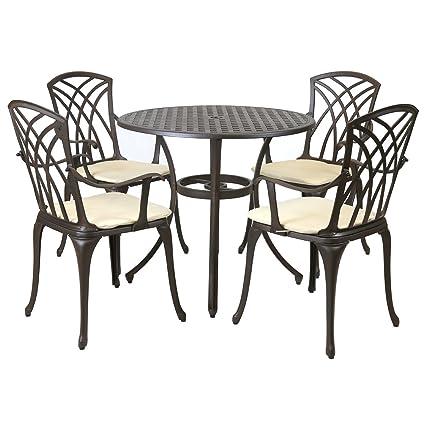 Charles Bentley - Metall-Gartenmöbel-Set fur Garten & Terrasse - Tisch & 4 Stuhle - mit Kissen - Aluminiumguss - 5-tlg