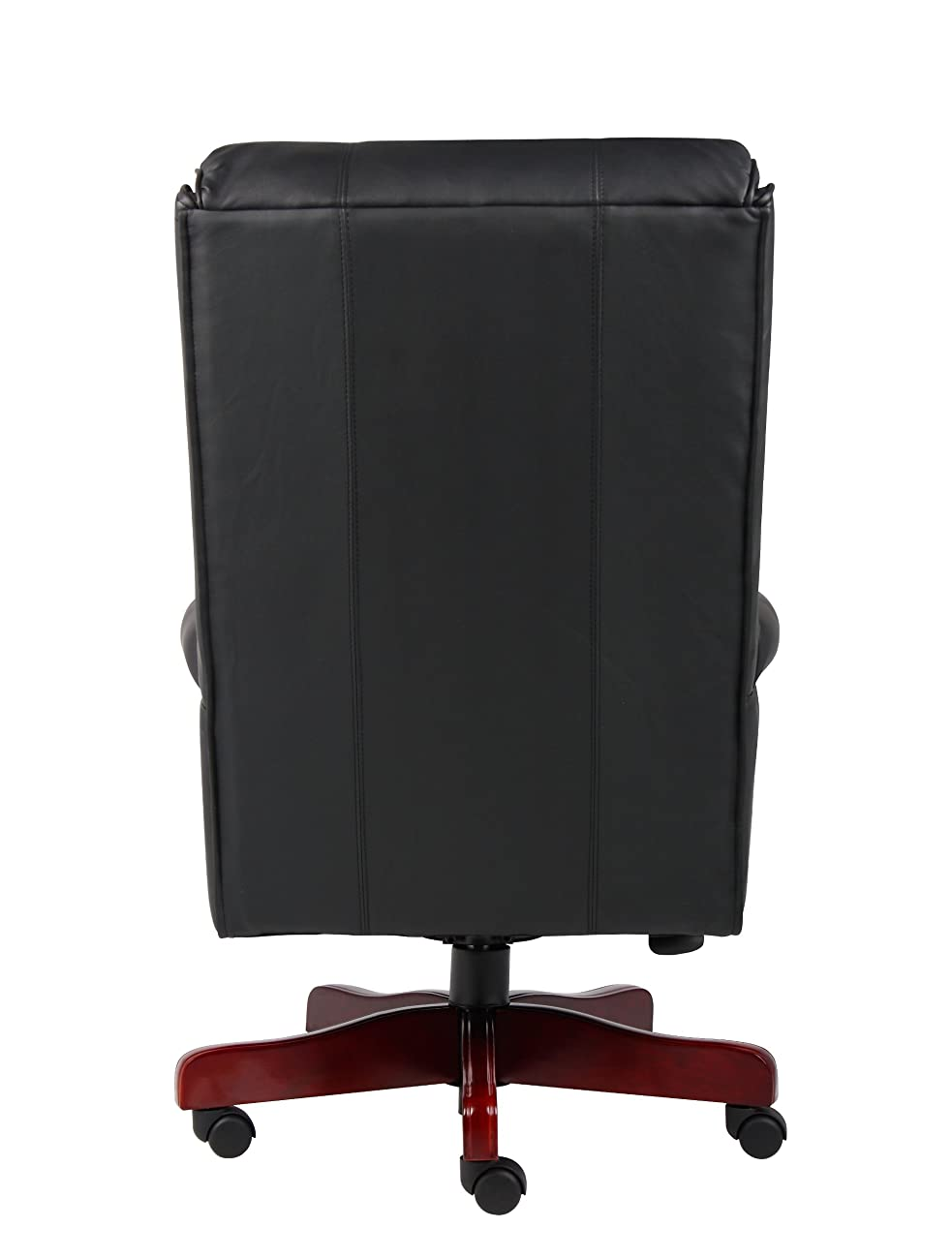 Boss Office Products B980-CP Traditional High Back CaressoftPlus Chair with Mahogany Base in Black 1