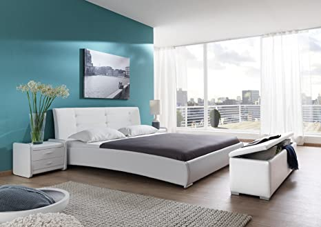 SAM® Design Polsterbett Bastia 90 x 200 cm Bett in weiß Kopfteil abgesteppt mit Chromfuße auch als Wasserbett verwendbar