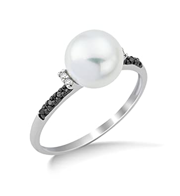 Miore 9ct White Gold Black and White Diamond Freshwater Pearl Ring MG9107R