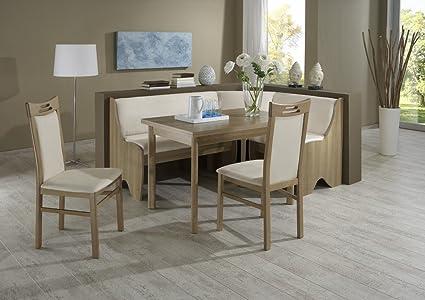 Dreams4Home Eckbankgruppe 'Loma' Essgruppe 165 x 125 x 87 cm Tisch 2 Stuhle modern Noce beige Eckbank Kuchentisch 4-teilig Landhaus Kuche