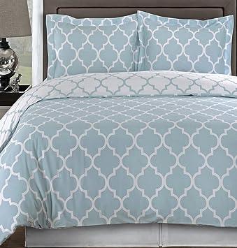 Amazon.com - 3pc Modern Light Blue Geometric Cotton Bedding Duvet ...