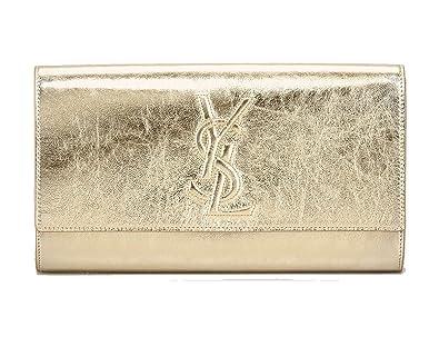 Yves Saint Laurent YSL Clutch Belle du Jour Gold Metallic Leather ...