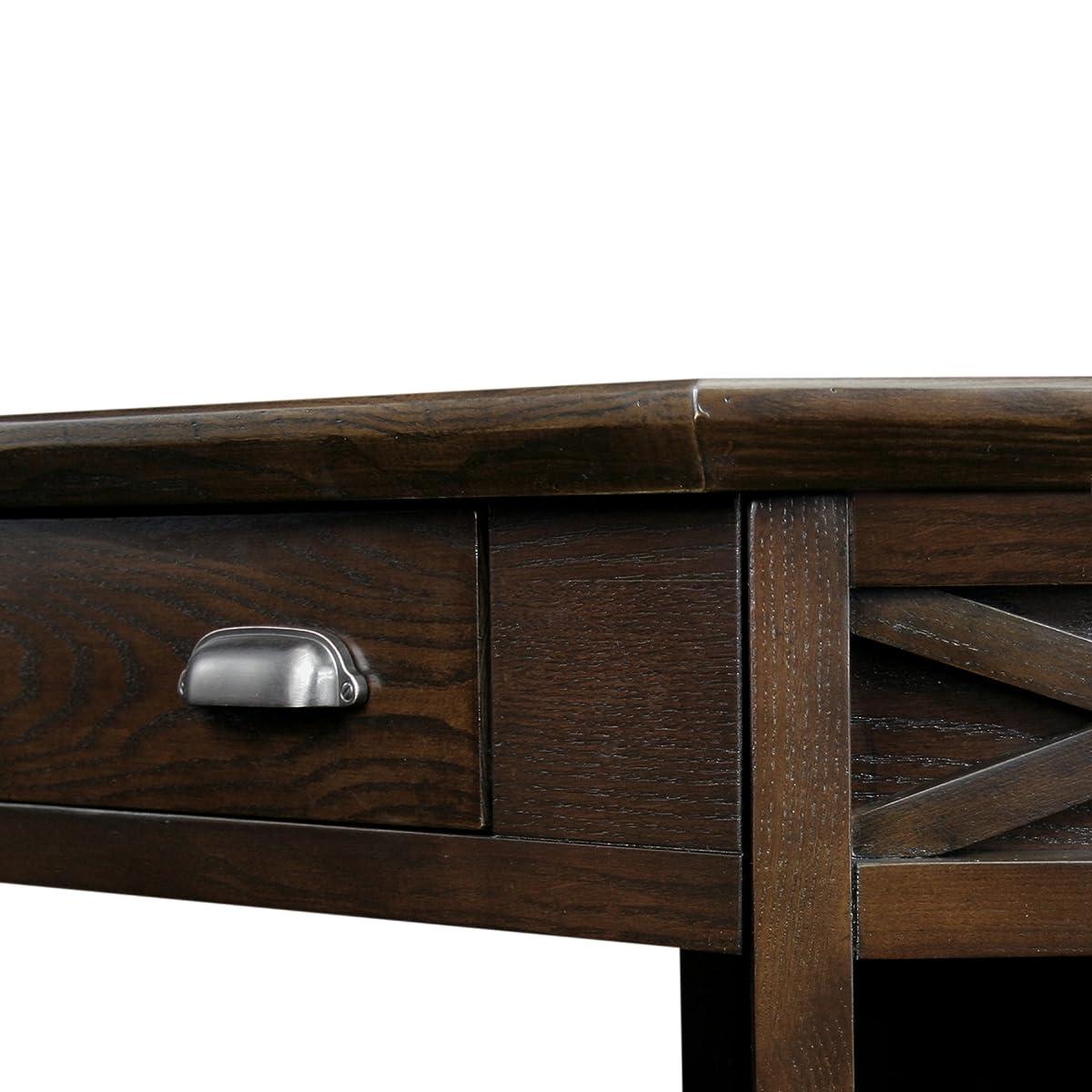 Leick Corner Computer and Writing Desk, Chocolate Oak Finish