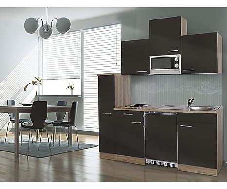respekta KB180ESGMIC - Bloque de cocina (180 cm, madera de roble pulida, incluye microondas y vitrocerámica), color gris