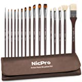 Nicpro Professional Paint Brushes for Acrylic Watercolor Oil Gouache Painting 16 PCS Art Brush Comb Long Handle Taklon & Hog Hair Round Filbert Angel Flat Brush with Carrying Travel Bag (Color: Brown, Tamaño: 16 pcs Pro)