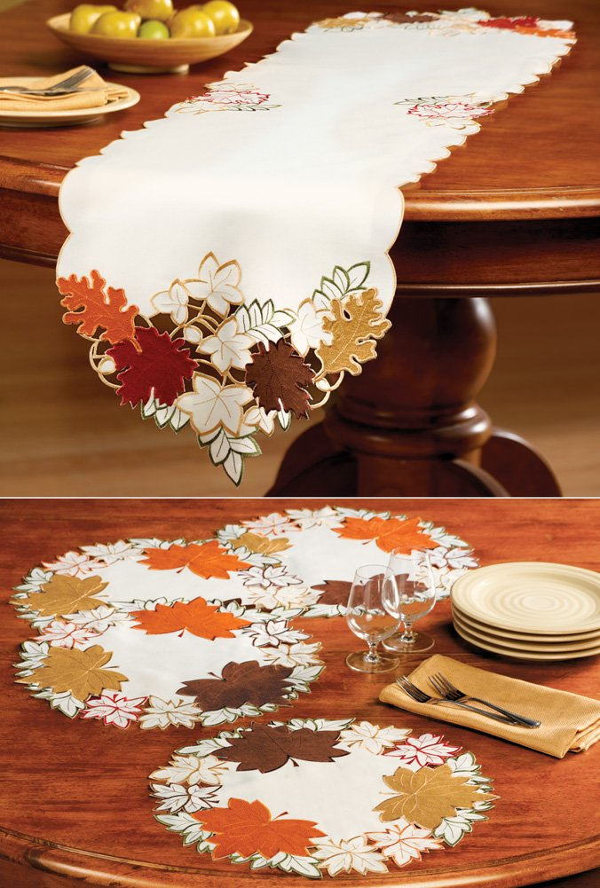 Maple Leaf Embroidered Fall Table Linens Runner