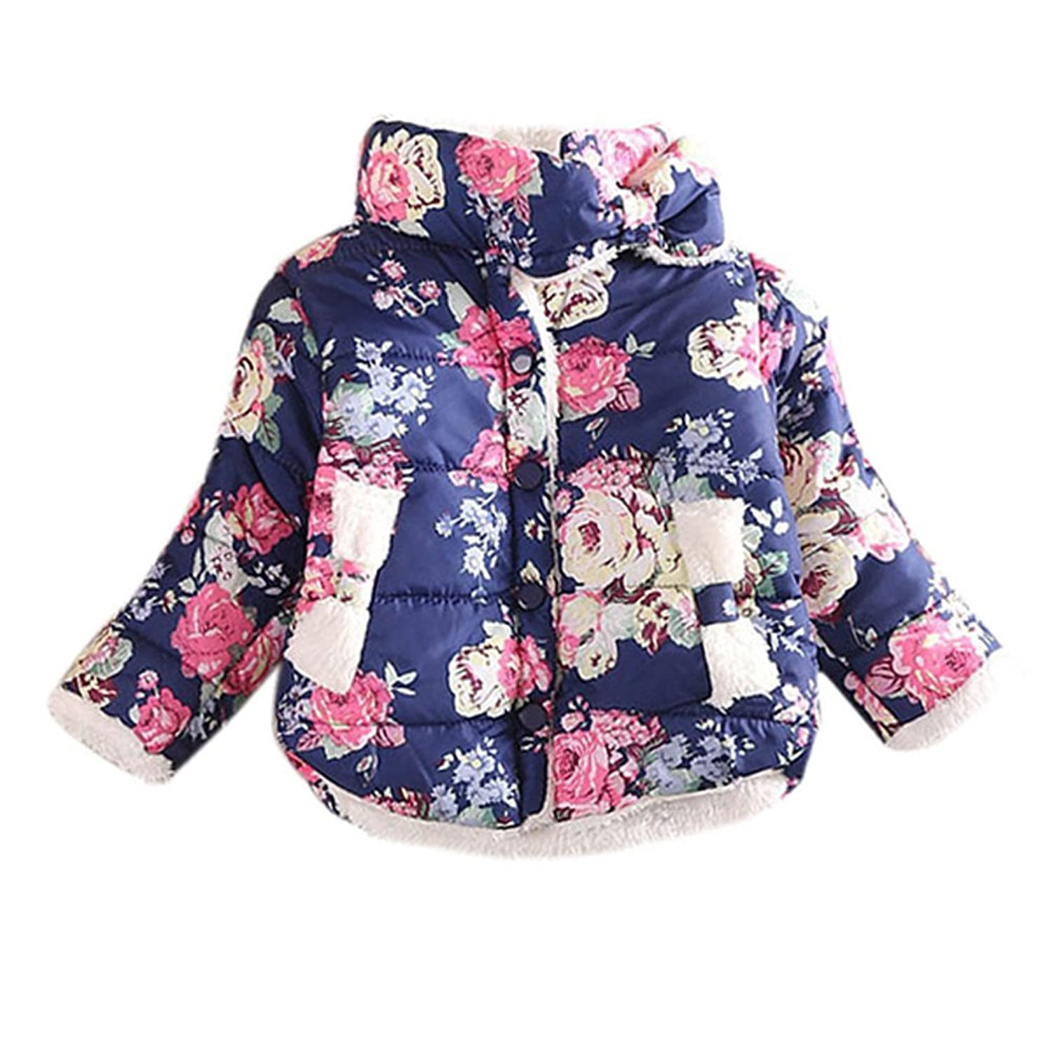 Urparcel Baby Girls Jackets Outerwear Winter Warm Down Coats Thick Floral Bow kamiwa 2018 embroidery fruit girls winter coats and jackets kids outwear down jacket clothes parkas children baby girls clothing