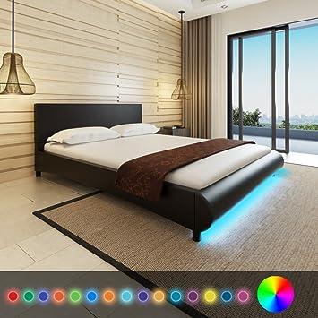 Anself Doppelbett Bett Gästebett 160x200cm mit LED-Licht ohne Matratze Schwarz