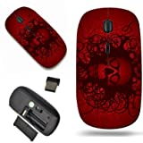 Luxlady Wireless Mouse Travel 2.4G Wireless Mice with USB Receiver, 1000 DPI for notebook, pc, laptop, macdesign IMAGE ID: 29647332 Skull love heart abstract red dark