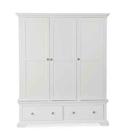 Global Home Products Collection 104 Triple Wardrobe, Wood, White