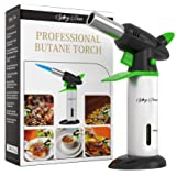 Blow Torch - Best Creme Brulee Torch - Refillable Professional Kitchen Torch with Safety Lock and Adjustable Flame - Culinary Torch - Micro Butane Torch with Fuel Gauge - Cooking Torch - Food Torch (Color: Silver, Black, Green)