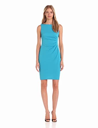 Anne Klein Women's Side Pleated Matte Ponte Dress, Capri Blue, 10