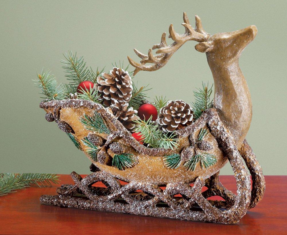 Reindeer Sleigh Floral Christmas Centerpiece