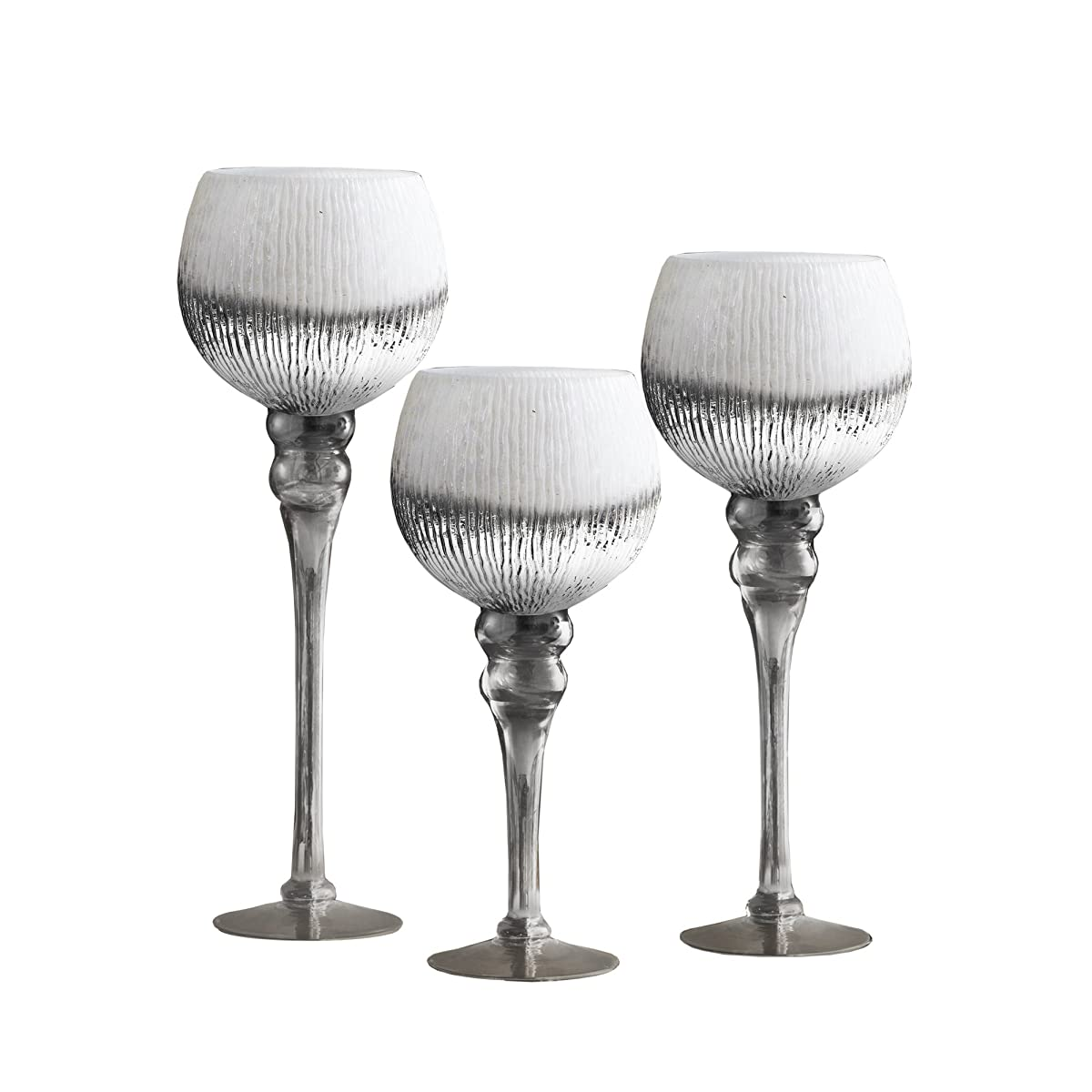 Fifth Avenue Crystal 215285-WHGB Bently Hurricanes (Set of 3), White/Silver