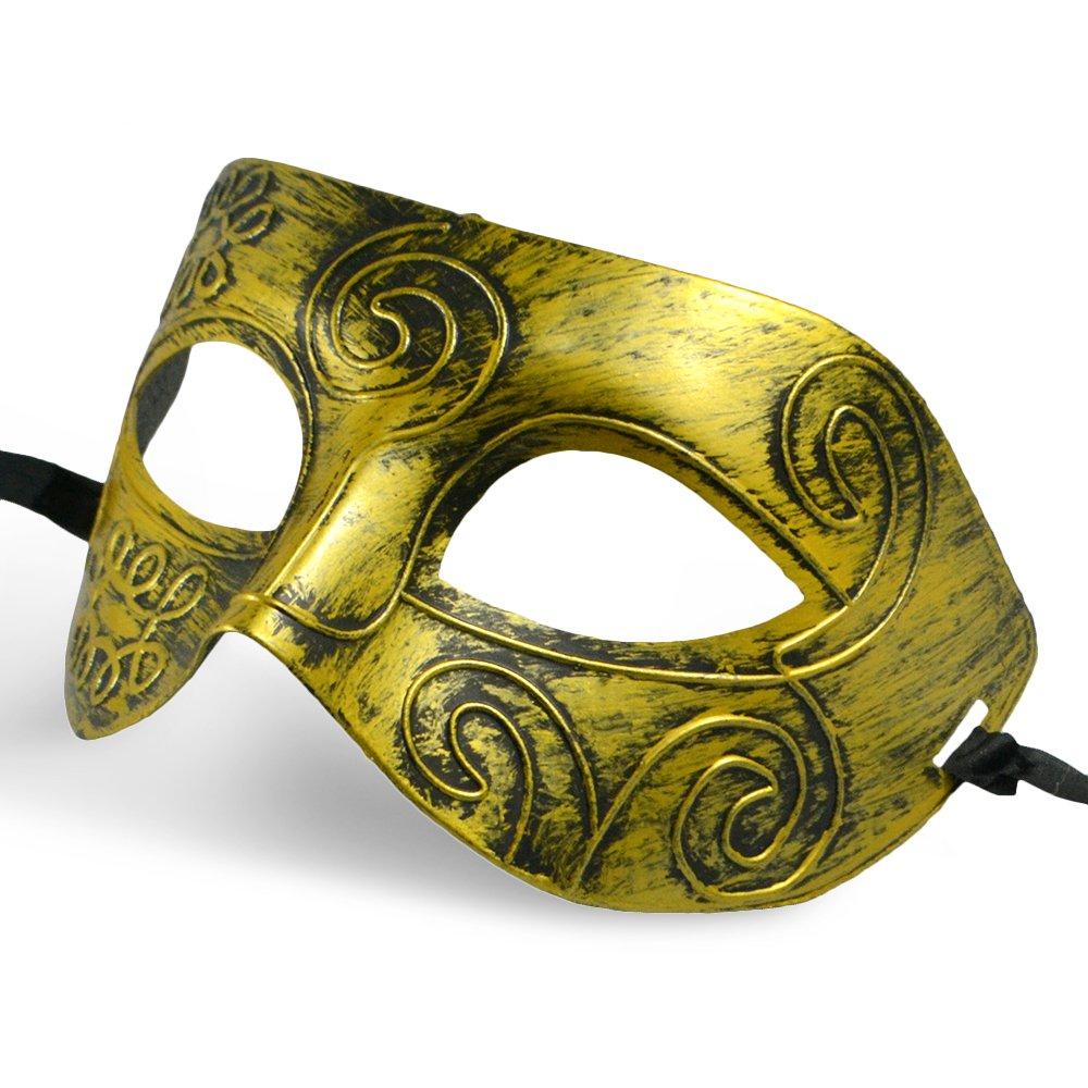 Thiroom Men's Retro Greco-Roman Gladiator Masquerade Masks Vintage Golden Mask Carnival Mask Mens Halloween Costume Party Mask(golden) 3