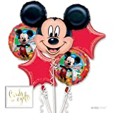 Andaz Press Balloon Bouquet Party Kit with Gold Cards & Gifts Sign, Disney Mickey Mouse Birthday Foil Mylar Balloon Decorations, 1-Set (Color: Mickey Mouse)