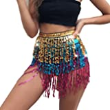 MUNAFIE Women's Belly Dance Hip Scarf Sequin Tassel Hip Skirt colorful Waist Chain (One Size, Gold/Blue/Pink)