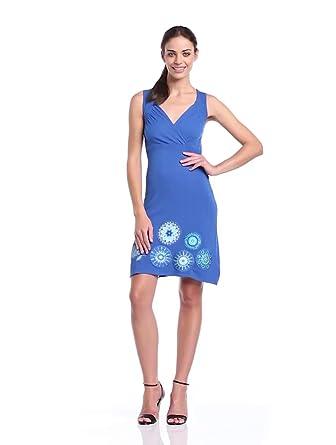 Desigual - estrella - robe - été - femme - bleu (royal) - m