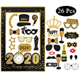 New Years Eve Party Supplies 2020, New Years Photo Booth Props Pack Of 33 Glitter Cardstock Decorations Kit, New Years Eve Backdrop 2020 Supplies decor