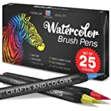 Artist Watercolor Brush Pens Set of 26 - Vibrant Markers with Bonus 1 Water Brush Pen - 25 Colors Flexible Nylon Tips - Paper Pad & Carry Case - Non-Toxic Safe & Fun Watercolors in Gift    New Edition (Tamaño: New Edition)