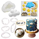 Fewo 7Pcs/Set Cloud Soap Candle Molds Cookie Cutters Moon Stars Fondant Gum Paste Molds Twinkle Twinkle Little Star Birthday Party Cake Cupcake Decorating Tools Supplies