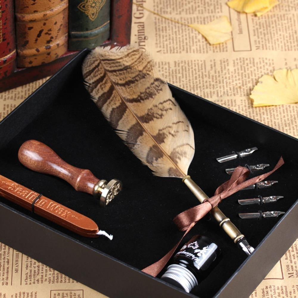 PASSION juneTree Calligraphy Pen Feather Writing Quill pens Antique Owl Feather Metal Nibbed Pen 0