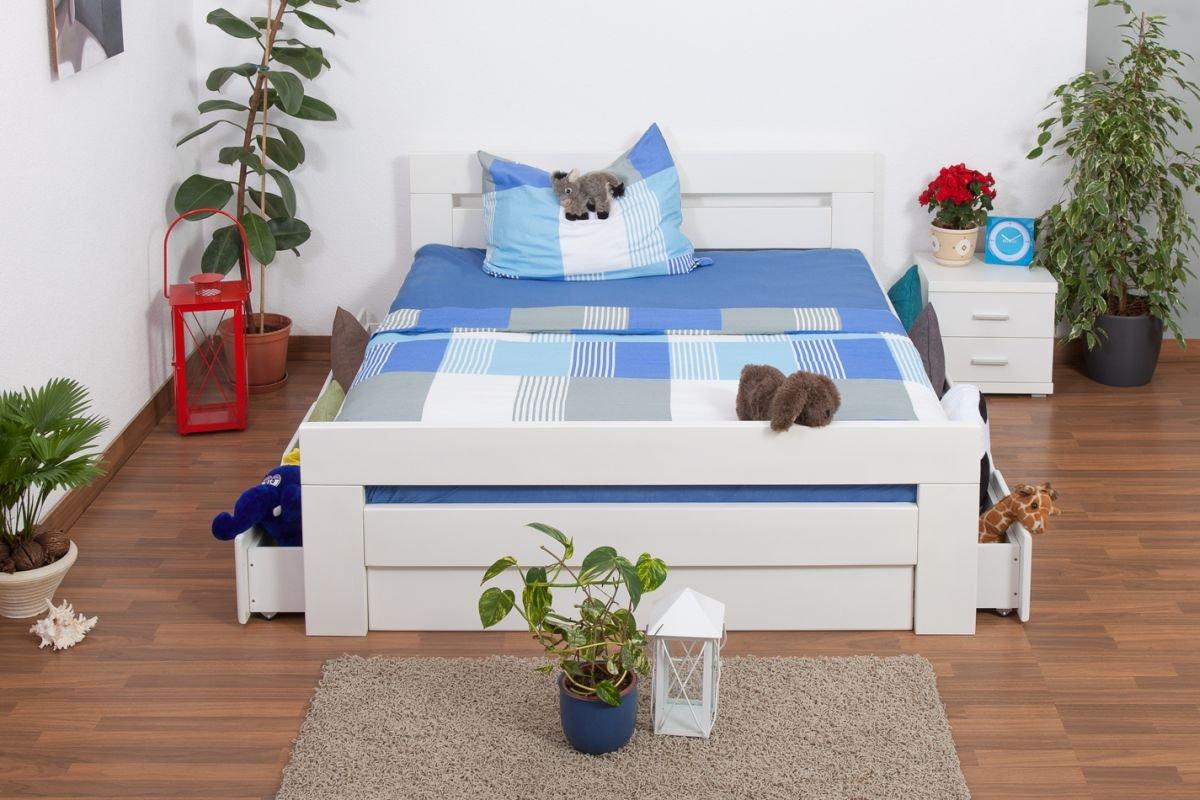 """Jugendbett """"Easy Sleep"""" K6 inkl. 4 Schubladen und 2 Abdeckblenden 160 x 200 cm Buche Vollholz massiv weiß lackiert jetzt bestellen"""