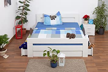 """Bett mit Stauraum """"Easy Sleep"""" K6 inkl. 4 Schubladen und 2 Abdeckblenden 160 x 200 cm Buche Vollholz massiv weiß lackiert"""