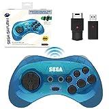 Retro-Bit Official Sega Saturn 2.4 GHz Wireless Controller 8-Button Arcade Pad for Sega Saturn, Sega Genesis Mini, Nintendo Switch, PS3, PC, Mac - Includes 2 Receivers & Storage Case - Clear Blue (Color: Clear Blue)