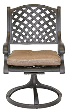 Nassau Cast Aluminum Powder Coated 2 Swivel Rocker Dining Chairs with Walnut Seat Cushions - Antique Bronze