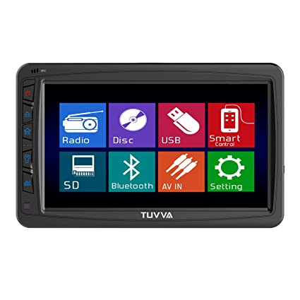"TUVVA KSD7750B 1-DIN Autoradio multimédia DVD / CD / USB / SD / AUX-IN / MP4 / MP3 Radio Bluetooth Écran LCD tactile 18cm (7"") avec télécommande"