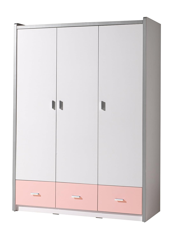 VIPACK BOKL2315 Kleiderschrank 3-türig Bonny, circa 147 x 201 x 57 cm, 15, weiß / rosa